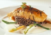 Wild salmon, Lentils and Asparagus
