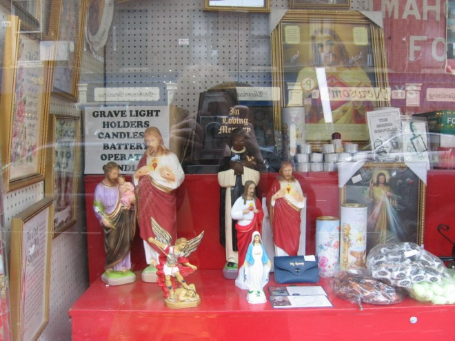 Religious goods in shop window